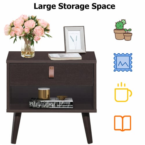 Costway Nightstand Sofa Side End Table Bedside Table Drawer Storage Perspective: left