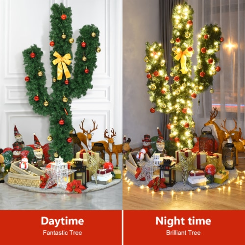 Costway Pre-Lit Cactus Christmas Tree 7Ft LED Lights Ball Ornaments Perspective: left
