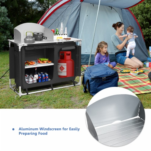 Goplus Portable BBQ Camping Grill Table Kitchen Sink Station w/ Storage Organizer Basin Perspective: left
