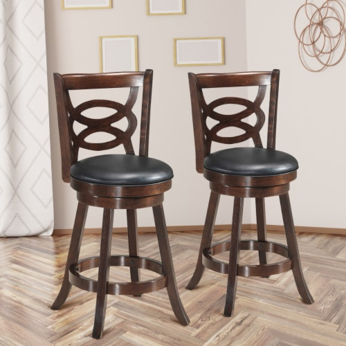 Costway Set of 2 Bar Stools 24'' Height Wooden Swivel Backed Dining Chair Home Kitchen Perspective: left