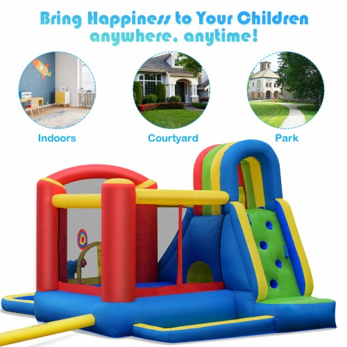 Costway Inflatable Kid Bounce House Slide Climbing Splash Pool Jumping Castle Perspective: left