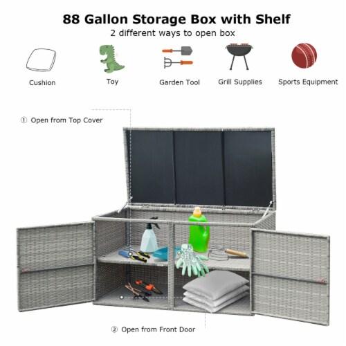 Costway 88 Gallon Garden Patio Rattan Storage Container Box Bin Shelf Perspective: left