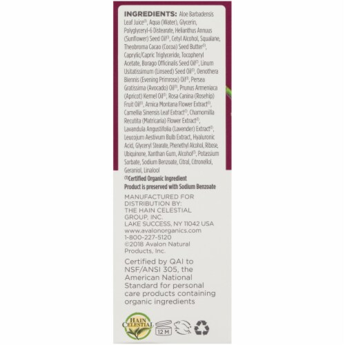 Avalon Organics Wrinkle Therapy Facial Serum Perspective: left