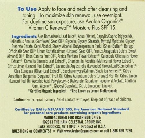 Avalon Organics Vitamin C Renewal Cream Perspective: left