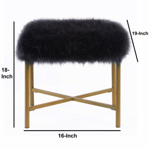 Square Faux Fur Upholstered Ottoman with Tubular Metal Legs and X Shape Base, Black and Gold Perspective: left