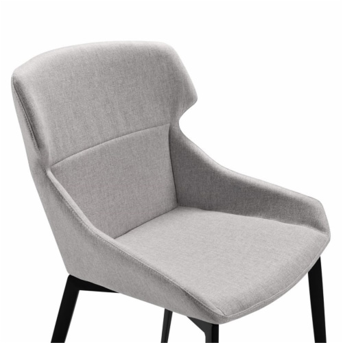 Kenna Dining Chair in Matte Black Finish and Gray Fabric - Set of 2 Perspective: left
