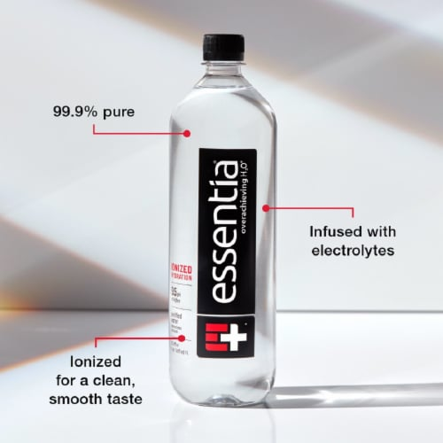 Essentia Purified Alkaline Water with Electrolytes Perspective: left
