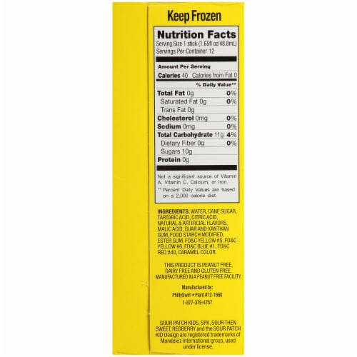 Sour Patch Kids Variety Ice Pops 12 Count Perspective: left