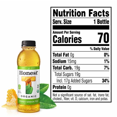 Honest Tea Organic Honey Green Tea Perspective: left