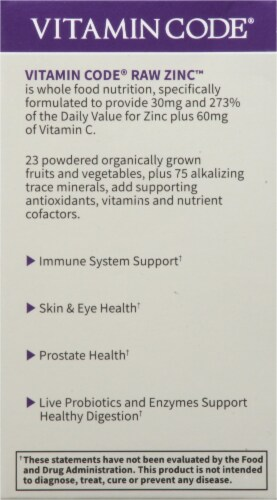 Garden of Life Vitamin Code Raw Zinc High Potency Nutrition 30mg Capsules Perspective: left