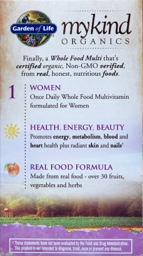 Garden of Life myKind Organics Women's Once Daily Multivitamin Vegan Tablets Perspective: left