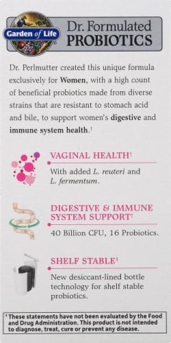 Garden Of Life Dr. Formulated Women's Daily Care Probiotic Capsules Perspective: left