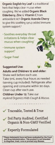 Garden of Life Mykind Organics Couch & Mucus Immune Syrup Perspective: left