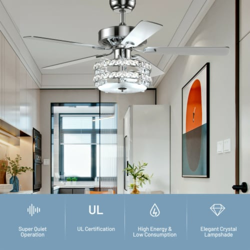Gymax 52'' Classical Crystal Ceiling Fan Lamp w/ Reversible Blades Remote Control Home Perspective: left