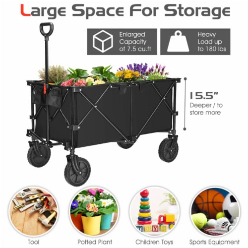 Costway Collapsible Folding Wagon Cart Outdoor Utility Garden Trolley Buggy Shopping Toy Perspective: left