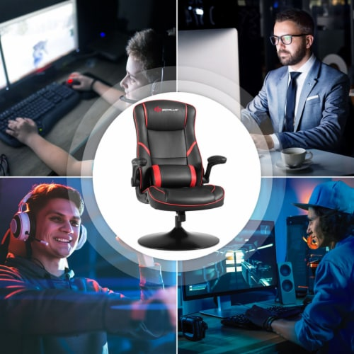 Goplus Gaming Rocker Chair Racing Style Swivel Computer Office Chair w/Flip Up Armrests Perspective: left