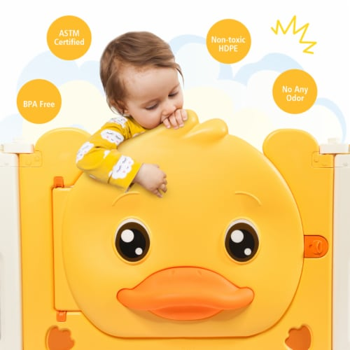 Costway 16-Panel Foldable Baby Playpen Kids Yellow Duck Yard Activity Center w/  Sound Perspective: left