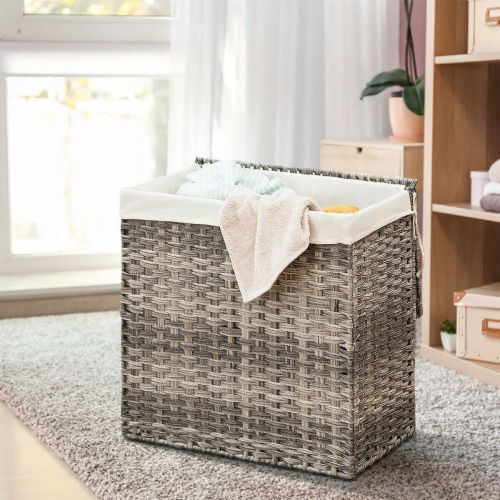 Gymax Hand-woven Laundry Basket Foldable Rattan Laundry Hamper W/Removable Bag Grey Perspective: left