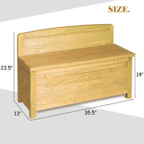 Gymax 16.5 Gallon Wood Storage Bench Deck Box Outdoor Seating Storage Container Perspective: left