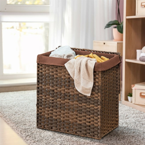 Gymax Hand-woven Laundry Basket Foldable Rattan Laundry Hamper W/Removable Bag Brown Perspective: left