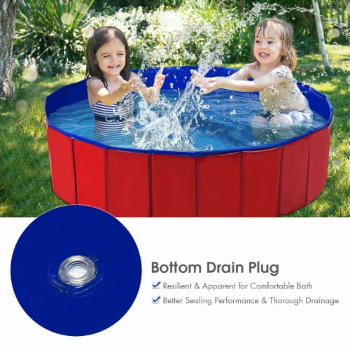 Costway 48  Foldable Kiddie Pool Kids Bath Tub Ball Pit Playpen Indoor Outdoor Portable Perspective: left