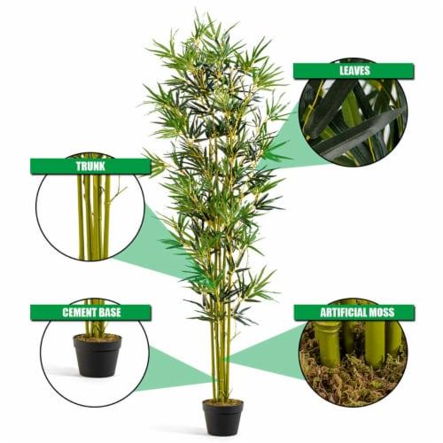 Costway 6 ft Artificial Bamboo Silk Tree Indoor Outdoor Home Office Decorative Planter Perspective: left