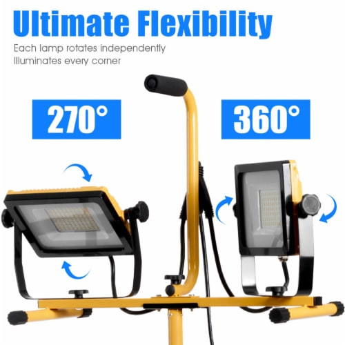 Costway 100W 10,000lm LED Dual-Head Work Light w/Adjustable Tripod Stand IP65 Waterproof Perspective: left
