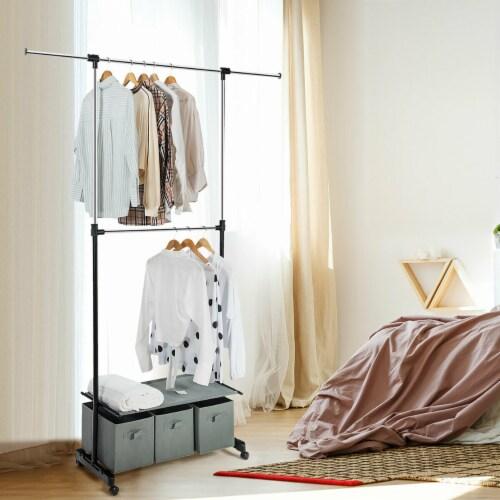 Costway 2-Rod Adjustable Garment Rack Rolling Clothes Organizer w/ Shelf & Storage Boxes Perspective: left
