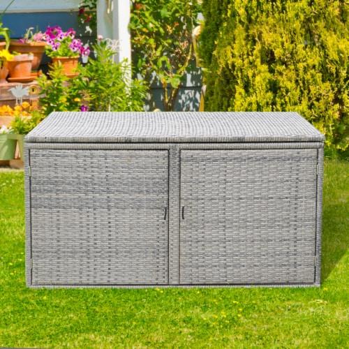 Gymax 88 Gallon Rattan Storage Box Outdoor Patio Container Seat w/ Shelf Door Perspective: left