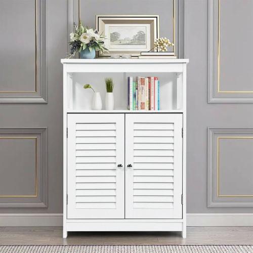 Costway Bathroom Wood Storage Cabinet w/ Double Shutter Door Perspective: left