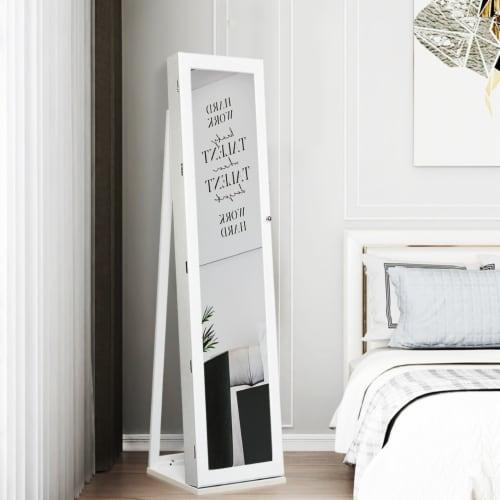Costway Mirrored Jewelry Cabinet Lockable Standing Storage Organizer W/ Shelf Perspective: left