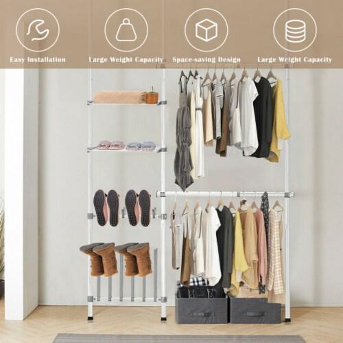 Gymax Double 2 Tier Telescopic Garment Rack Cloth Closet Organizer w/Shoe Rack & Shelf Perspective: left