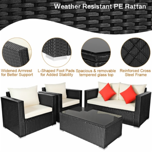 Costway 4PCS Patio Rattan Furniture Set Cushioned Sofa Chair Coffee Table Off White Perspective: left