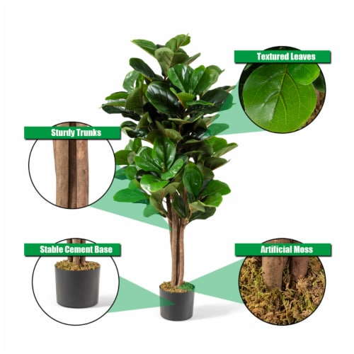 Costway 4ft Artificial Fiddle Leaf Fig Tree Indoor Outdoor Office Decorative Planter Perspective: left
