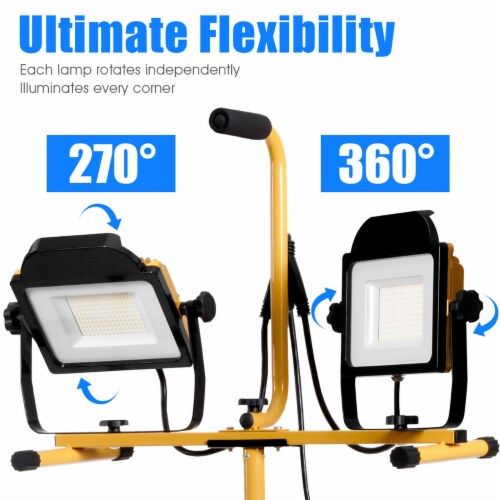 Costway 200W 20,000lm LED Dual-Head Work Light w/Adjustable Tripod Stand IP65 Waterproof Perspective: left
