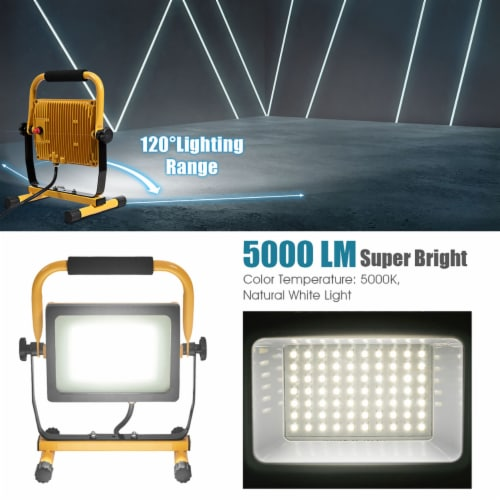 Costway 50W 5000lm LED Work Light Portable Outdoor Camping Job Site Lighting Waterproof Perspective: left