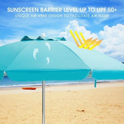 Costway 6.5FT Patio Beach Umbrella Sun Shade Tilt W/Carry Bag Blue Perspective: left