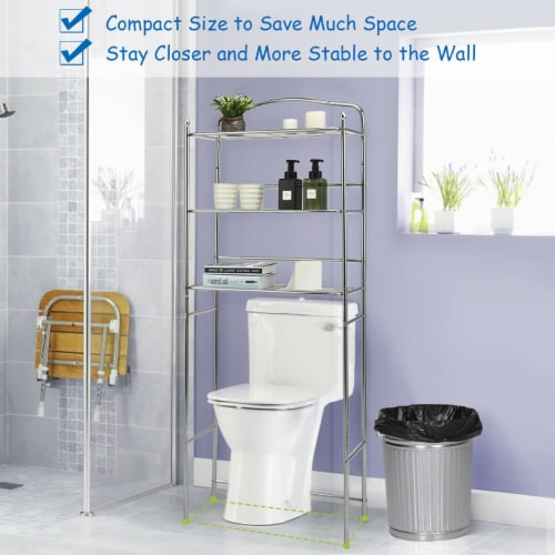 Costway 3-Tier Over The Toilet Bathroom Space Saver Metal Towel Rack Storage Organizer Perspective: left