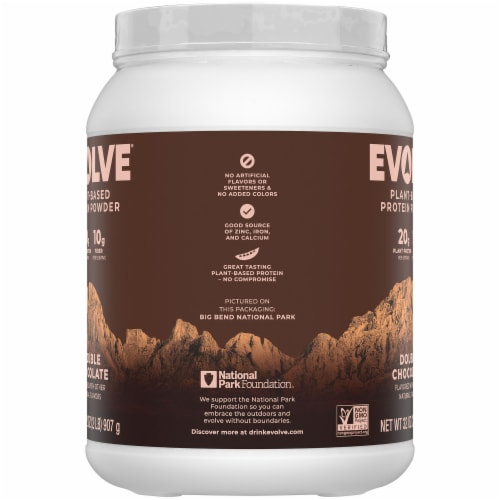 Evolve Double Chocolate Plant-Based Protein Powder Perspective: left