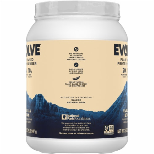 Evolve Plant-Based Ideal Vanilla Protein Powder Perspective: left