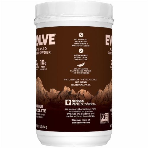 Evolve Classic Chocolate Protein Powder Perspective: left
