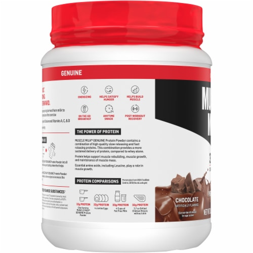 Muscle Milk Genuine Chocolate Protein Powder Perspective: left