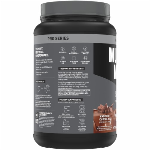 Muscle Milk Pro Series Knockout Chocolate Protein Powder Perspective: left