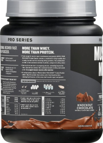 Muscle Milk Pro Series 50 Knockout Chocolate Protein Powder Perspective: left
