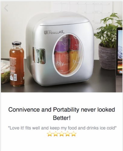 Uber Appliance Personal/Portable Mini Fridge 12 can Cooler/Warmer|indoor/outdoor|Home/office Perspective: left