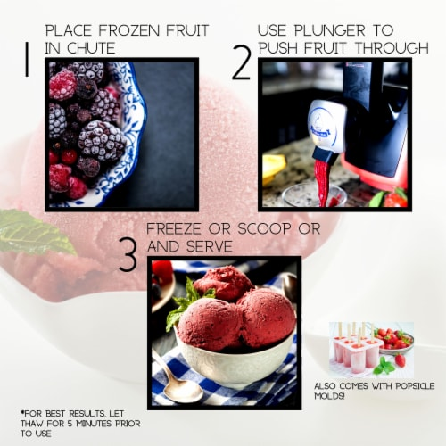 Uber Appliance Sorbet Frozen yogurt maker|soft serve fruit machine|4pc Popsicle mold included Perspective: left