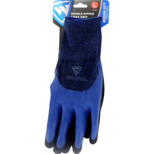 West Chester Protective Gear Blue Polyester Double Dipped Latex Grip Gloves Perspective: left
