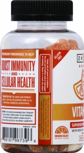 Zhou Vitamin C+ Orange Blast Flavor Gummy Dietary Supplement Perspective: left