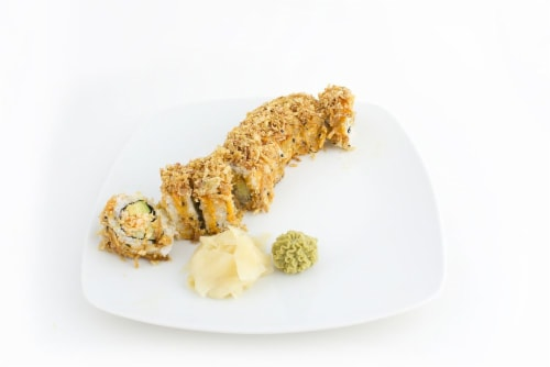 Hissho Crispy Crab Roll (NOT AVAILABLE BEFORE 11:00 AM DAILY) Perspective: left