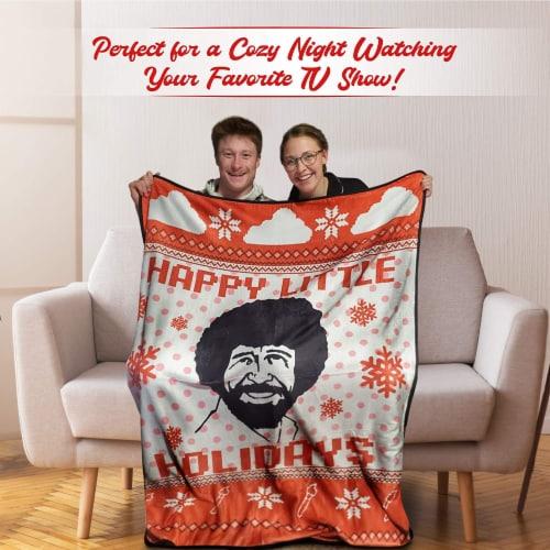 Bob Ross Happy Little Holidays Fleece Softest Throw Blanket Perspective: left